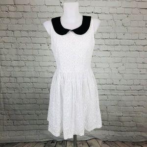 BB Dakota White Lace Black Collar Dress Sz 8